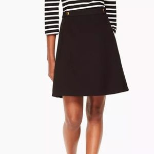 Kate Spade NWT Crepe Military Skirt Black